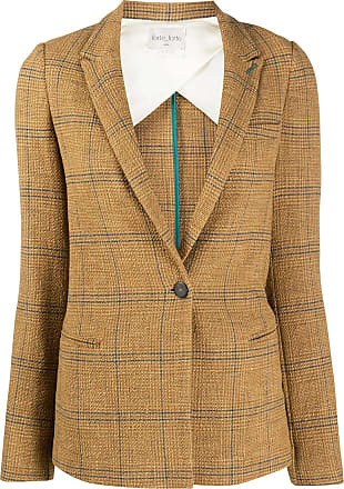 Forte_Forte single-breasted check blazer - Brown