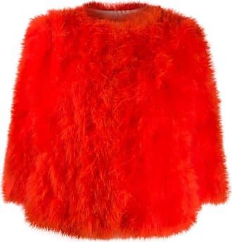 Yves Salomon 3/4 sleeved fur jacket - ORANGE