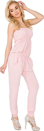 FUTURO FASHION Womens Jumpsuit with Pockets Bandeau Party Playsuit Catsuit Sizes 8-14 1084 Baby Pink