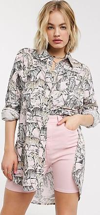 Noisy May Camicia oversize pastello con stampa maculata-Rosa