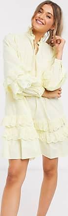 Pieces Mini-Hängerkleid mit Schnürung am Hals und Rüschen mit Lochstickerei in Gelb