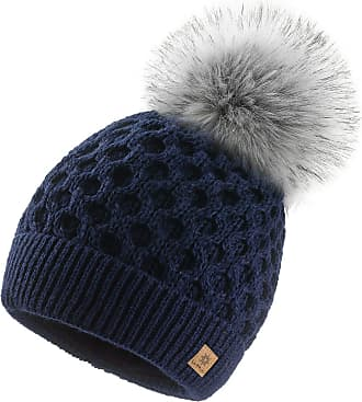 4sold Ladies Chunky Soft Cable Knit Handmade Woman Hat Cosy Fleece Liner and Bobble Faux Fur Pom pom (LORA Navy)