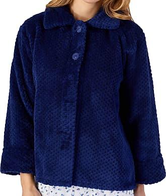 Slenderella Ladies 24/61cm 260GSM Dark Blue Soft Thick Waffle Fleece Collared Button Up Bed Jacket XXXL UK 28/30