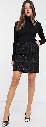 Warehouse metallic thread boucle skirt in black