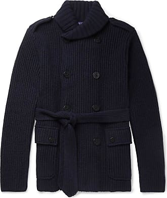e4b17750a83f Ralph Lauren Purple Label Shawl-collar Wool And Cashmere-blend Cardigan -  Navy