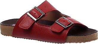 Doctor Shoes Antistaffa Sandália Feminina Birks 214 em Couro Framboesa Doctor Shoes-Vermelho-38