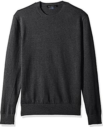 French Connection Mens Portrait Wool Crew Neck, Charcoal Melange S