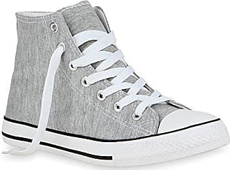 69dfa55e87 Stiefelparadies Damen Sneaker High Glitzer Sneakers Camouflage Stoff Sport  Schnürer Übergrößen Flats Turn Schuhe 48618 Grau