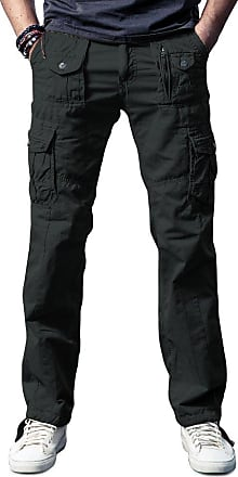 OCHENTA Ochenta mens loose-fit casual trousers water scrubbing cargo pants with multiple pockets made of cotton, 3380 Dark Grey, 38