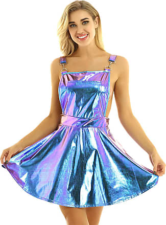 TiaoBug Womens Sexy Metallic Holographic A-line Pleated Bib Overall Mini Suspender Skirt for Raves Music Festivals Blue Small