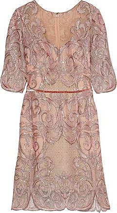 Marchesa Marchesa Notte Woman Velvet-trimmed Embellished Tulle Mini Dress Blush Size 10