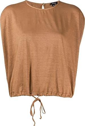 Aspesi Blusa mangas curtas com cordão de ajuste - Marrom