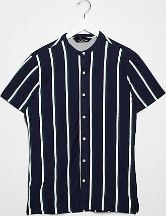 Bershka Hemd in Navy mit vertikalen Streifen und Grandad-Kragen