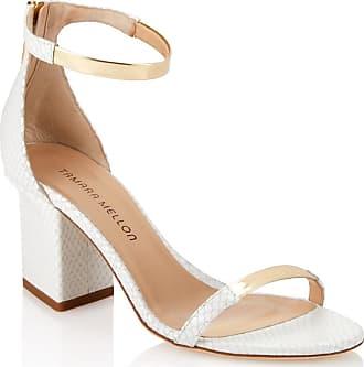 Tamara Mellon Luce White Elaphe Sandals, Size - 40.5