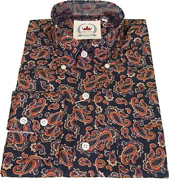 Relco Mens Retro Mod Paisley Shirt (XXX Large, Navy)