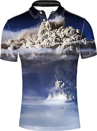 Hugs Idea Cloud Sea Print Mens Short Sleeve Summer Fashion Casual Tennis T-Shirt Novelty Collars Golf Sport Polos Shirt