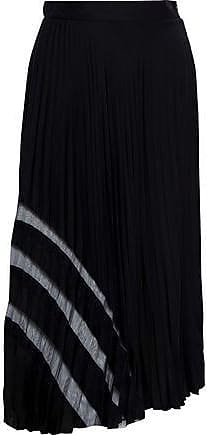 Milly Milly Woman Tulle-trimmed Pleated Stretch-silk Midi Skirt Black Size 10