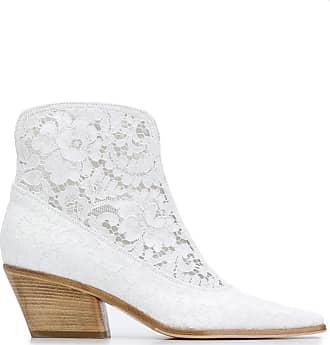 Le Silla Bota bico fino com recorte de renda floral - Branco