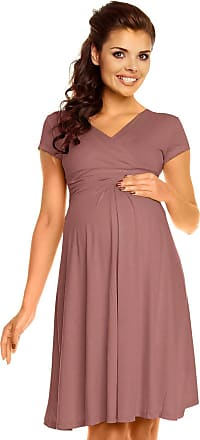 Zeta Ville Womens Maternity Wrap V-Neck Summer Dress - Short Sleeves - 108c (Cappuccino, UK 18, 3XL)
