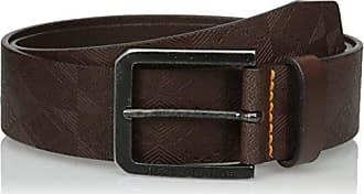 20e3d8c96 HUGO BOSS Boss Orange Mens Jeremyo Leather Embossed Belt, Dark Brown, 90