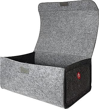 Designer Regalbox aus Filz mit Ledergriff Filz hellgrau