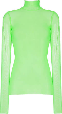 We11done turtleneck long sleeved mesh T-shirt - Green