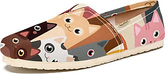 Tizorax Slip on Loafer Shoes for Women Colored Cat Family Comfortable Casual Canvas Flat Boat Shoe
