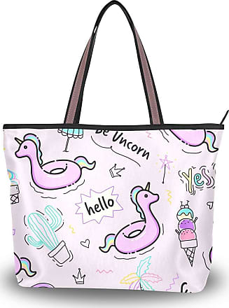 Lorona Women Unicorn Rubber Ring Pattern Cute Hand Drawn Doodle Canvas Shoulder Hand Bag Large Capacity Tote Bag