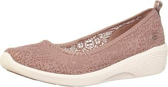 Skechers Womens Arya - AIRY Days Closed Toe Ballet Flats, Pink (Mauve Crochet/White Trim Mve), 3.5 (36.5 EU)