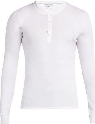 Schiesser Karl Heinz Long-sleeved Cotton Henley Top - Mens - White