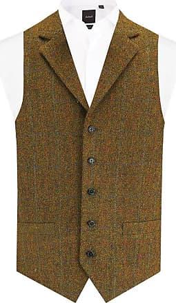 Dobell Scottish Harris Tweed Mens Rust Tweed Waistcoat Regular Fit 100% Wool Windowpane Check Notch Lapel-M (38-40in)