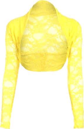 Top Fashion18 Womens Long Sleeve Lace Floral Ladies Cropped Short Shrug Bolero Cardigan Top 8-22 Yellow