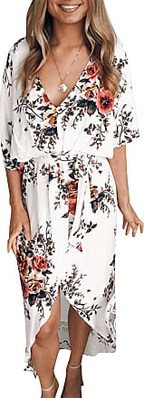 Yoins Women Floral Print V Neck Dress Half Sleeves Crossed Front Maxi Dresses for Vacation Beach,White,UK 10-12 (Medium)