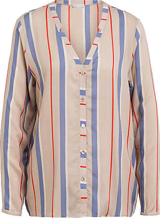 Hanro Lounge-Shirt - BEIGE/ BLAU/ ROT GESTREIFT