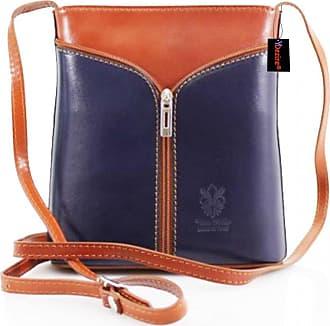 Your Dezire Womens Designer Real Leather Cross Body Bag Ladies Shoulder Handbag New (Navy-Tan)