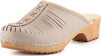 Ladeheid Women´s Wood Shoes Clogs House Shoes LAFA035 (Beige, 41 EU = 7 UK)