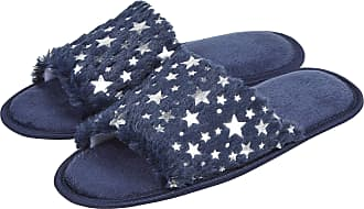 Forever Dreaming Laides Womens Open Toe Slippers Memory Foam Slip On Flat Jewel Indoor Faux Fur Navy 7-8