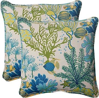 Pillow Perfect Outdoor Splish Splash Corded Throw Pillow, 18.5-Inch, Blue, Set of 2