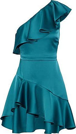 Halston Heritage Halston Heritage Woman One-shoulder Ruffled Satin Mini Dress Teal Size 12