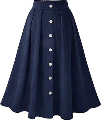QIYUN.Z Womens Vintage Pleated Button Down A-line Swing Skirt Navy Blue XL