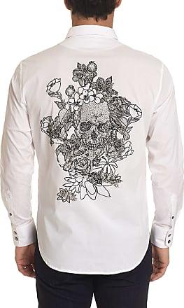 Robert Graham Mens Merlo Beaded Skull Sport Shirt In White Size: 2XL by Robert Graham