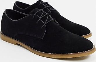 Topman Derby-Schuhe aus Wildlederimitat in Schwarz