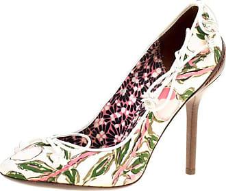 d6ffc7c8327f Louis Vuitton White Multicolor Fabric Flower Fields Print Pumps Size 36.5