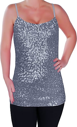 Eyecatch Womens Sparkly Sequin Strappy Vest Top Cami Sequined Sleeveless Camisole Glitter Party Tops Silver