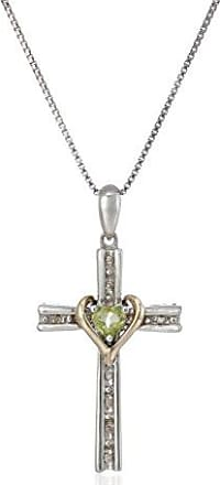 Amazon Collection Sterling Silver and 14k Gold Peridot Heart and Diamond-Accent Cross Pendant Necklace, 18