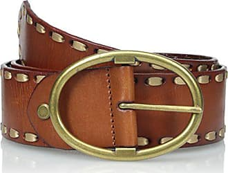Elise M. Womens Anne Trendy Leather Jean Belt with Heavy Gold Stitching, Brown, Medium/Large