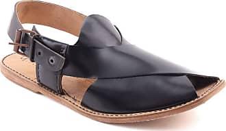 Unze Unze Men Fabian Full Leather Traditional Casual Peshawari Sandals with Buckle Closure UK Size 6-11 - QAS004 Black
