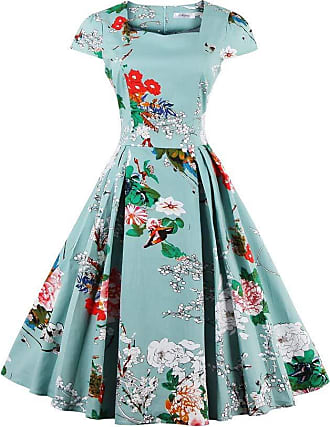 QUINTRA Womens Summer Large Size Casual Loose Natural Short Sleeve Flower Print Vintage Fit and Flare Mid-Calf Dress Light Blue