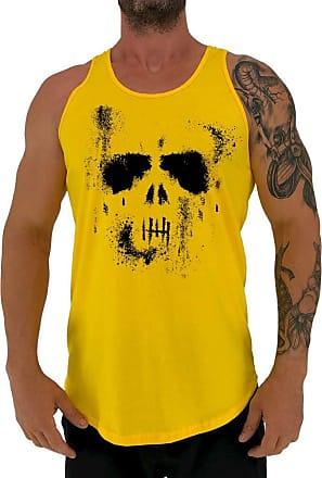 MXD Conceito Regata LongLine Masculina Cavada MXD Conceito Ghost Skull Long Line (Amarelo, GG)