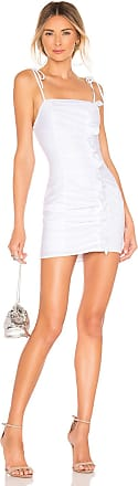 Superdown Pia Ruched Ruffle Dress in White